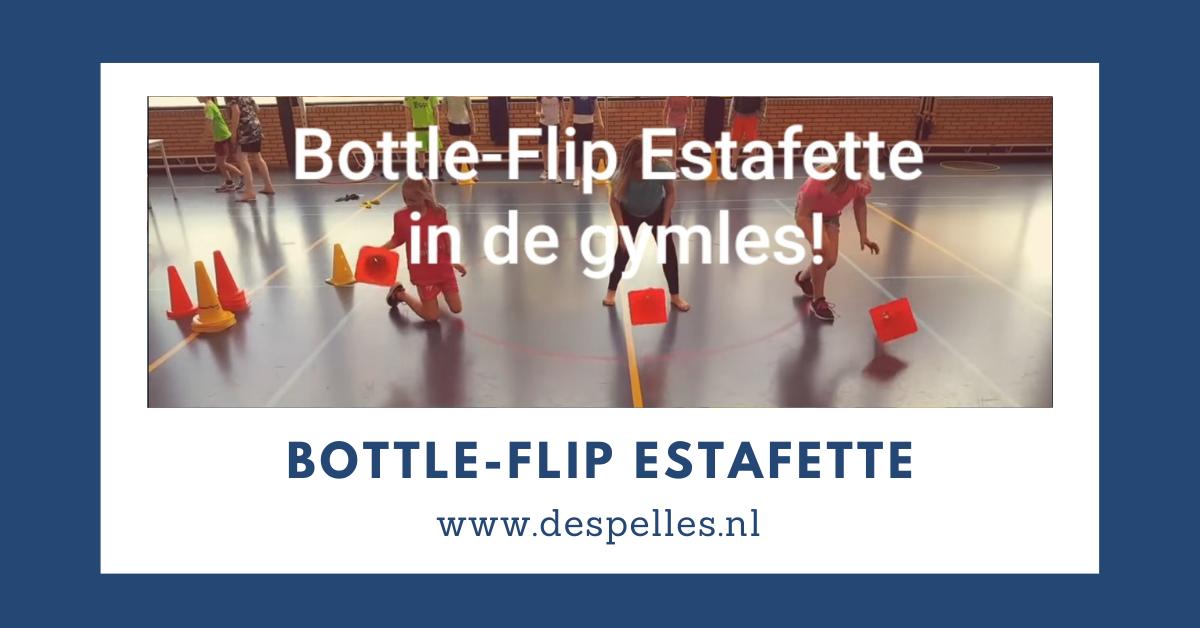 Bottle-Flip estafette in de gymles