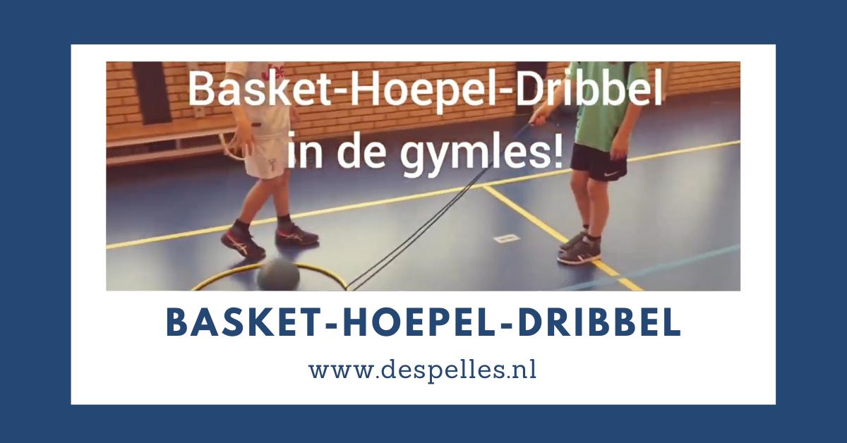 Basketbal-Hoepel-Dribbel in de gymles