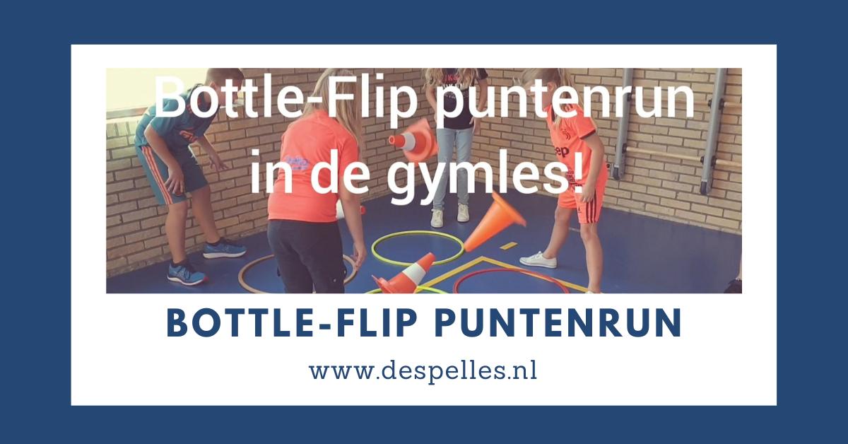 Bottle-Flip puntenrace in de gymles