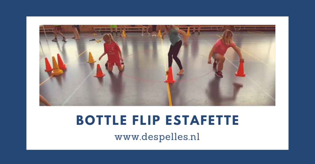 Bottle Flip Estafette in de gymles