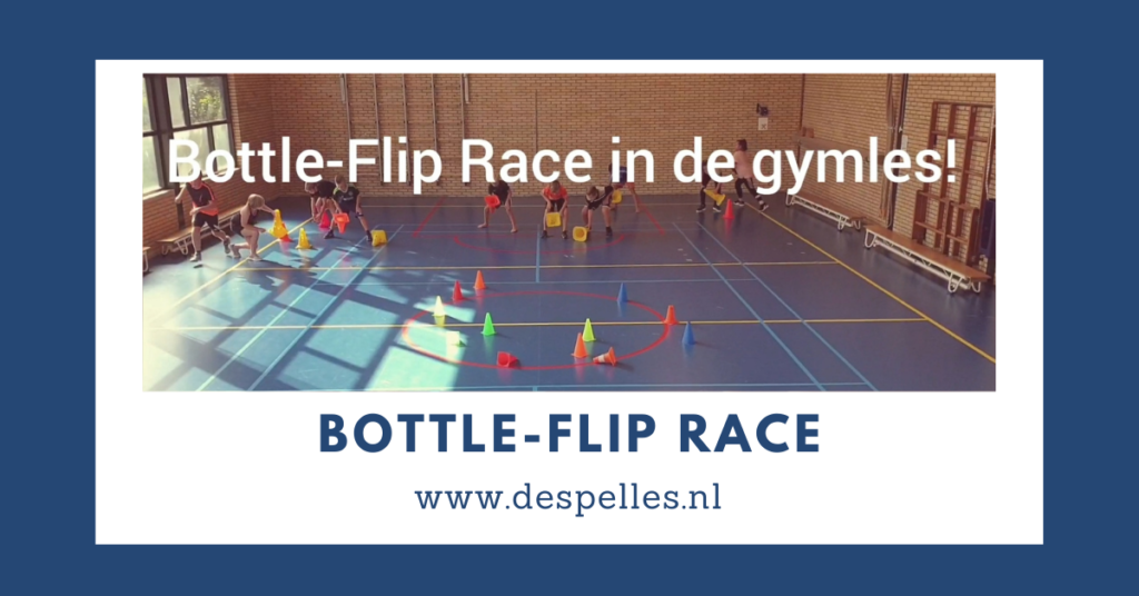 Bottle-Flip-Race in de gymles